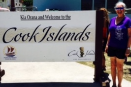 Jeanne At Cook Islands Welcome Sign